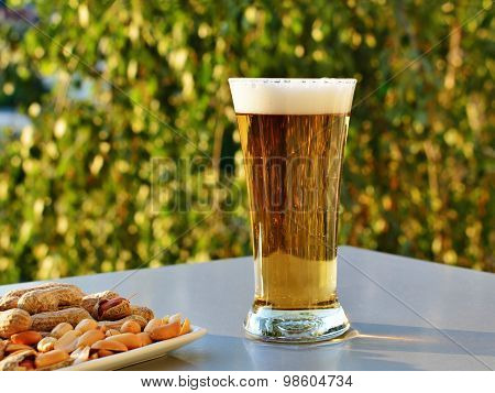 Glass Of Light Beer And Peanuts On The Table