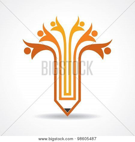 Creative pencil and people icon stock vector