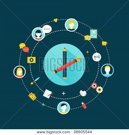 Crowdsourcing and Social Network Community Concept Illustration