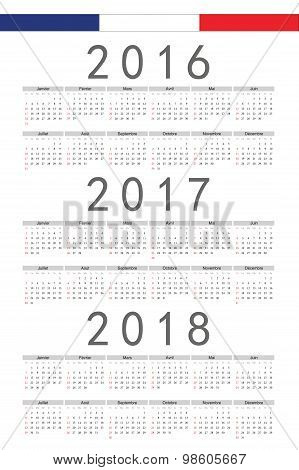 Set Of Rectangle French 2016, 2017, 2018 Year Vector Calendars
