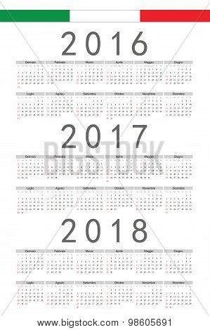 Set Of Rectangle Italian 2016, 2017, 2018 Year Vector Calendars