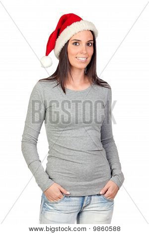 Beautiful Girl With Santa Claus Hat