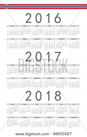 Set Of Rectangle Norwegian 2016, 2017, 2018 Year Vector Calendars