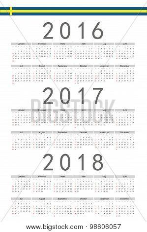 Set Of Rectangle Swedish 2016, 2017, 2018 Year Vector Calendars