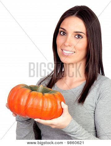 Beautiful Girl With A Big Pumpkin