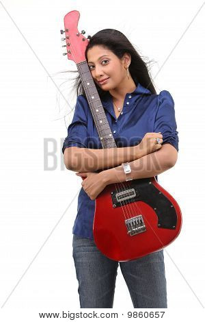 Fashionable girl with guitar