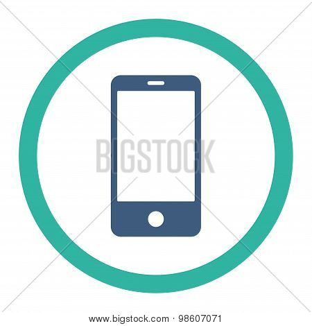 Smartphone flat cobalt and cyan colors rounded raster icon
