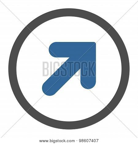 Arrow Up Right flat cobalt and gray colors rounded raster icon