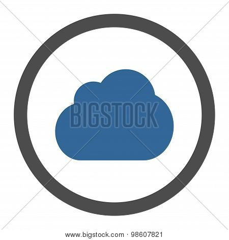 Cloud flat cobalt and gray colors rounded raster icon
