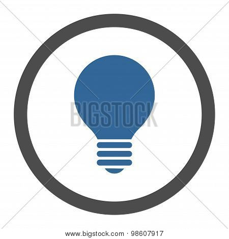 Electric Bulb flat cobalt and gray colors rounded raster icon