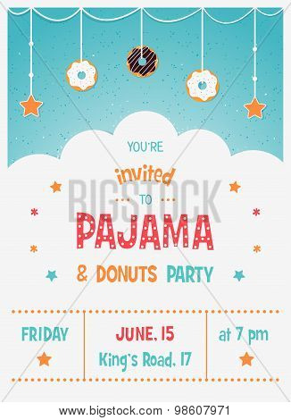 Pajama and Donuts Kids' Party Invitation Card Template