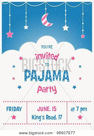 Pajama Sleepover Kids' Party Invitation Card Template