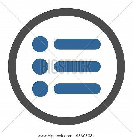 Items flat cobalt and gray colors rounded raster icon