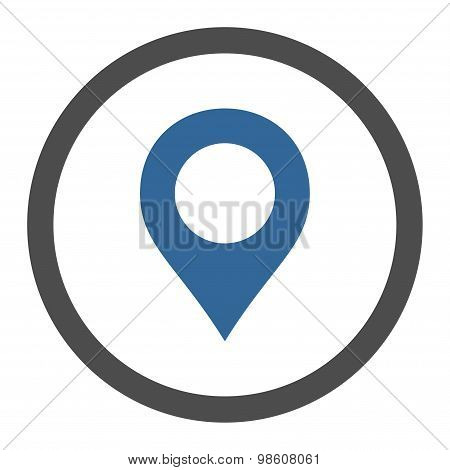 Map Marker flat cobalt and gray colors rounded raster icon