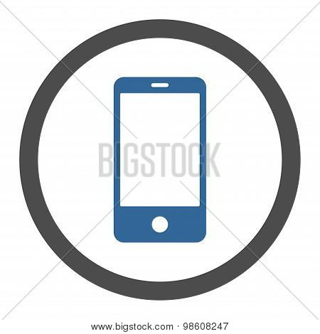 Smartphone flat cobalt and gray colors rounded raster icon