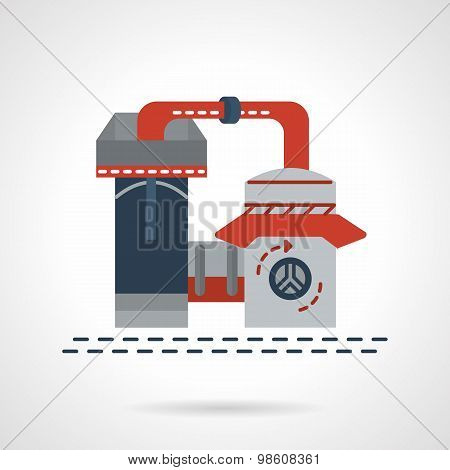 Refinery plant flat vector icon