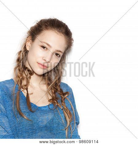 Portrait Of Teen Girl Beautiful Cheerful Enjoying