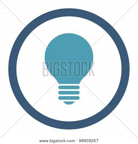 Electric Bulb flat cyan and blue colors rounded raster icon