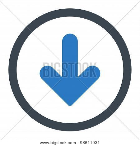 Arrow Down flat smooth blue colors rounded raster icon