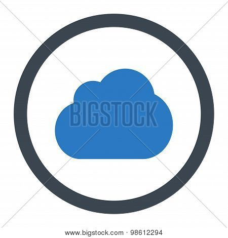Cloud flat smooth blue colors rounded raster icon
