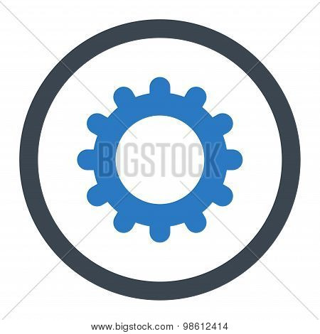 Gear flat smooth blue colors rounded raster icon