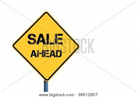 Yellow Roadsign With Sale Ahead Message