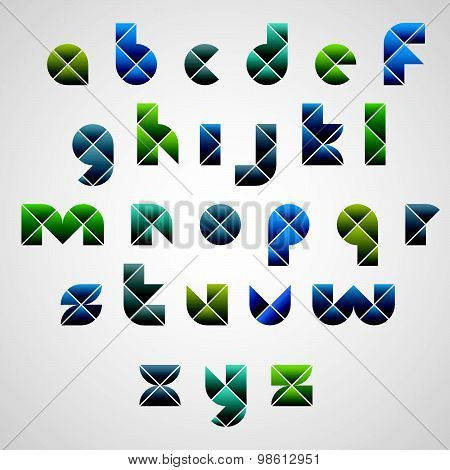 Geometric modern style digital letters alphabet made with rhombuses, vector font.