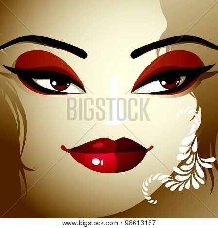 Emotional expression on the face of a cute girl.  Beautiful woman with modern makeup
