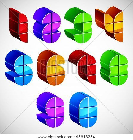 3d numbers set made with round shapes, colorful numerals for advertising and web design.