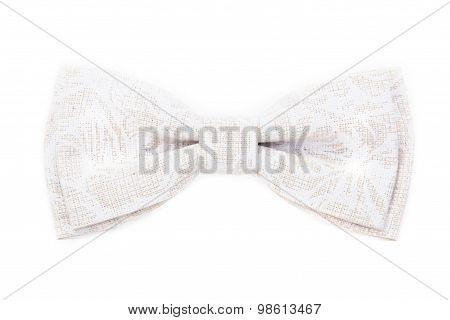 White with texture bow tie isolated on white background