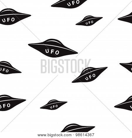Seamless Pattern With Space Saucers