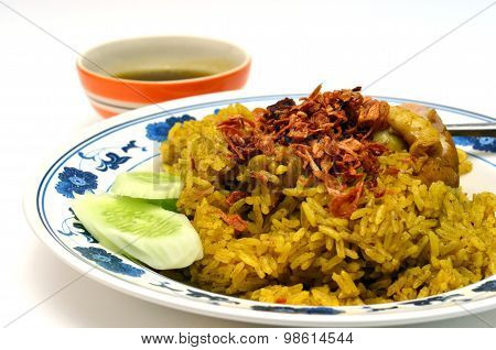 Thai chicken curry rice food served with sauce