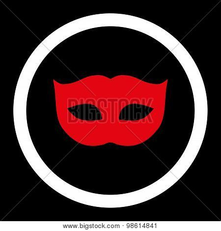 Privacy Mask flat red and white colors rounded raster icon
