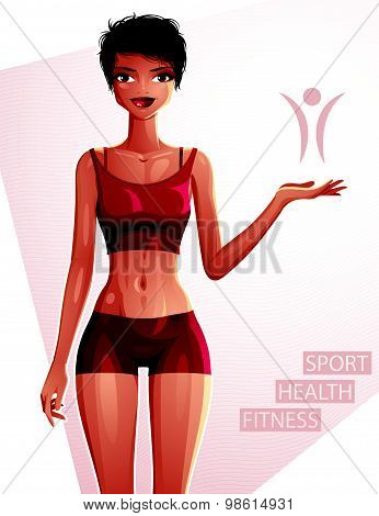 Beautiful lady illustration, full body portrait of sexy slim brunette showing at some empty