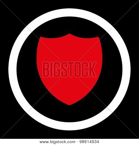 Shield flat red and white colors rounded raster icon