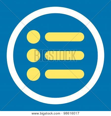 Items flat yellow and white colors rounded raster icon