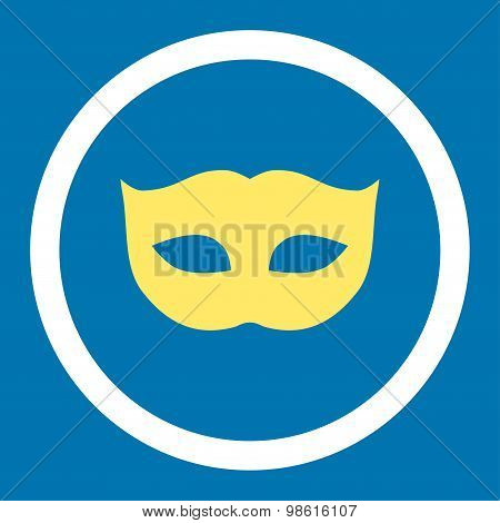 Privacy Mask flat yellow and white colors rounded raster icon