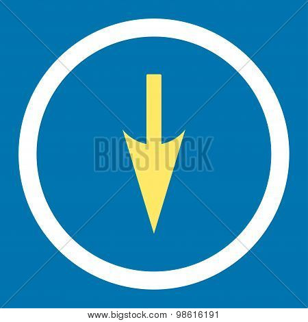 Sharp Down Arrow flat yellow and white colors rounded raster icon