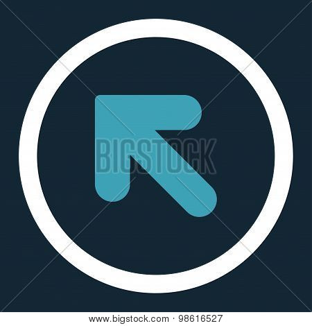 Arrow Up Left flat blue and white colors rounded raster icon