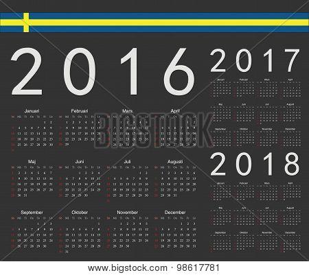 Set Of Black Swedish 2016, 2017, 2018 Year Vector Calendars