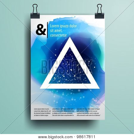 Color application poster or magazine cover template design for corporate identity with watercolor splash and geometry shapes. Stationery set