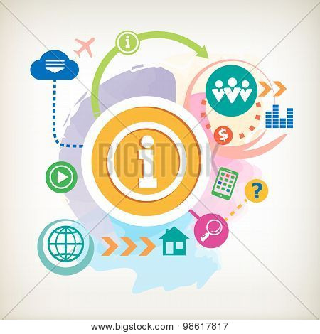 Info Icon And And Cloud On Abstract Colorful Watercolor Background