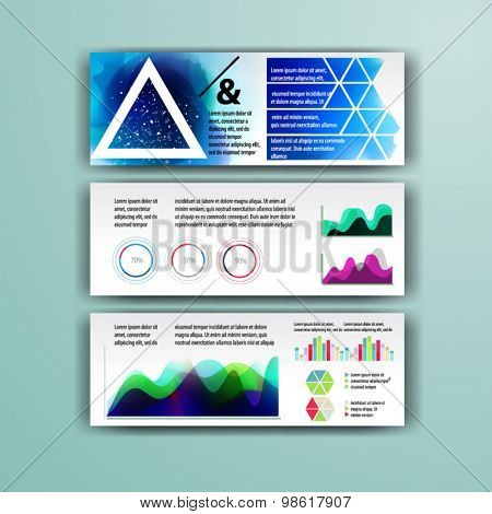 Geometry brochure template design  for corporate identity with geometry shapes and watercolor splashes. Cover layout and infographics