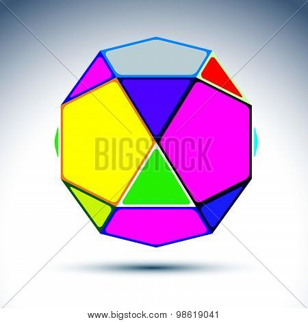 Abstract complicated 3d ball with jewels effect. Bright sphere constructed from geometric elements