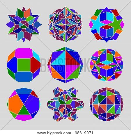 Collection of complex 3d spheres and abstract geometric figures with white outline. Kaleidoscope