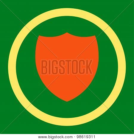Shield flat orange and yellow colors rounded raster icon