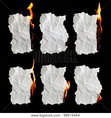 Paper Burning On Black Background