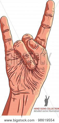 Rock on hand sign, rock n roll, hard rock, detailed vector illustration.