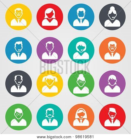 User sign icon. Person symbol. Human avatar. Round colourful 16 buttons. Vector