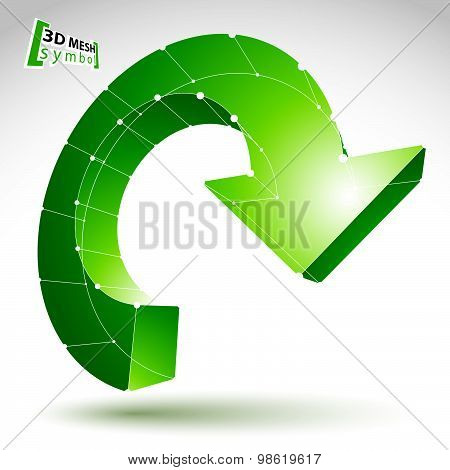 3d mesh update sign isolated on white background, lattice colorful reuse icon, green 3d
